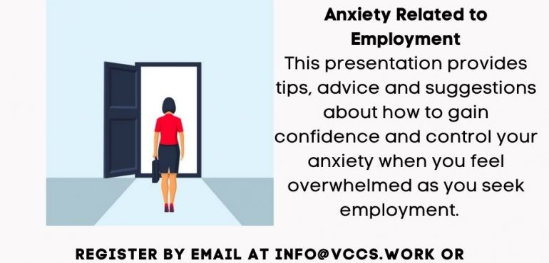 Poster for VCCS Workshop Anxious about returning to work