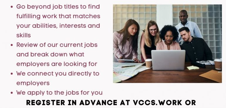 Poster for Job Match Workshop offered at VCCS