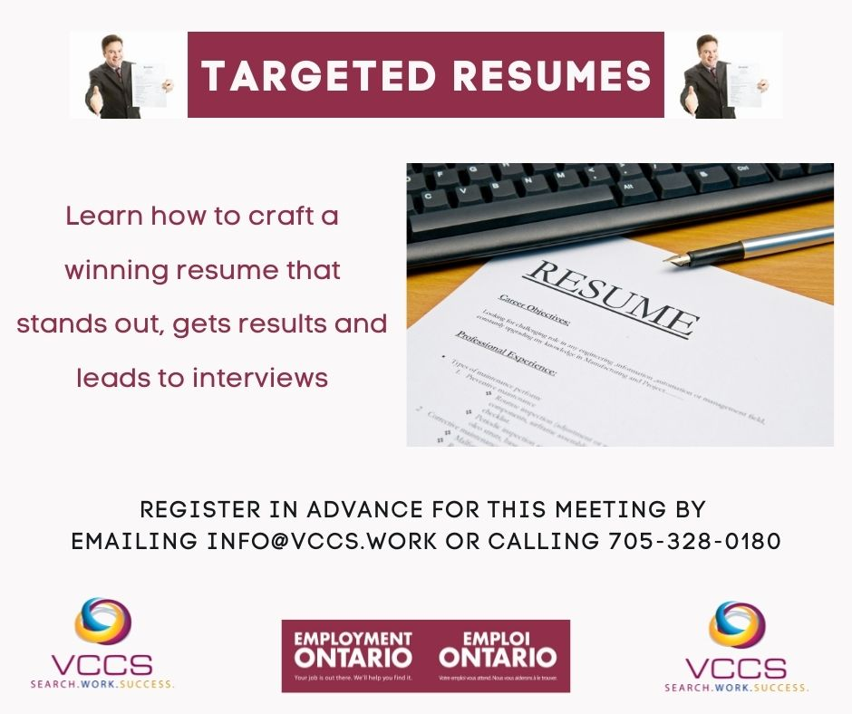 Poster for Targeted resume workshop with VCCS